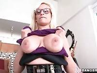Sexy Holly Brooks is playing with her awesome big natural jugs.
