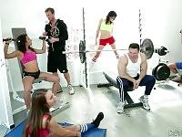 Three hot looking babes and two toned studs do their work out.